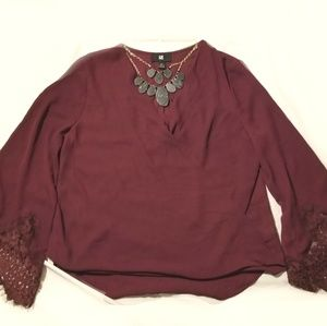 Long sleeve burgandy top with lace bell sleeves
